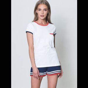 Оригинальная пижама с полосками на шортах