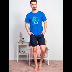 Мужской трикотажный комплект с принтованной футболкой