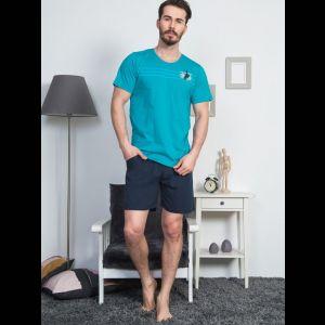 Мужской трикотажный комплект с синими шортами