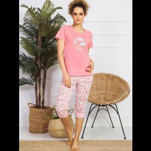 Женский комплект с розовыми принтованными бриджами