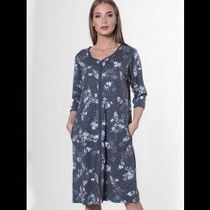 Женский халат с цветочным принтом на молнии