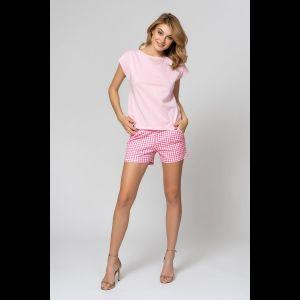 Легкая хлопковая пижама с клетчатыми шортиками