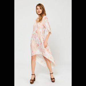 Бежево-розовая туника с нежным цветочным принтом