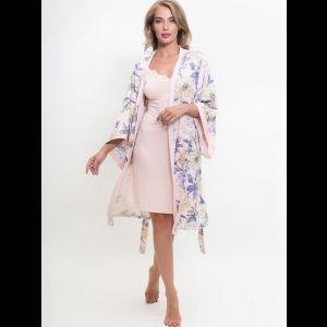 Нежный халат из вискозы с цветочным рисунком и сорочкой в комплекте