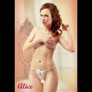 Белоснежные стринги с доступом Alice