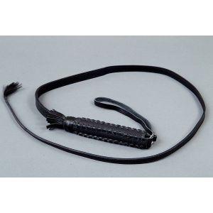 Хлыст с плетённой ручкой из чёрной кожи - 120 см.