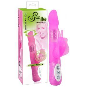 Многофункциональный розовый вибратор Smile Fancy с клиторальной бабочкой - 22 см.