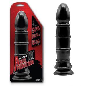 Чёрный анальный фаллоимитатор с рёбрышками - 25,4 см.