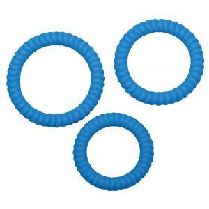 Набор из трех синих силиконовых колец