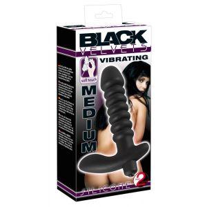 Анальный вибратор среднего размера BLACK VELVETS - 17 см.