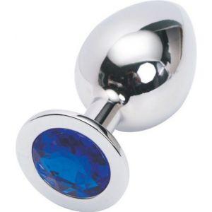 Серебряная металлическая анальная пробка среднего размера с синим стразиком - 8,2 см.