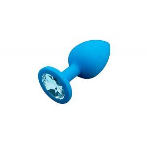Маленькая голубая силиконовая пробка с голубым кристаллом - 7,5 см.