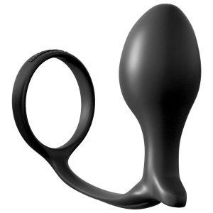 Эрекционное кольцо Ass-Gasm Cockring Advanced Plug с анальной пробкой