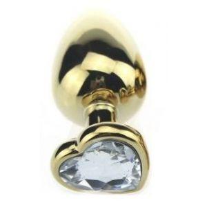 Золотистая пробка с прозрачным кристаллом-сердечком - 7,5 см.