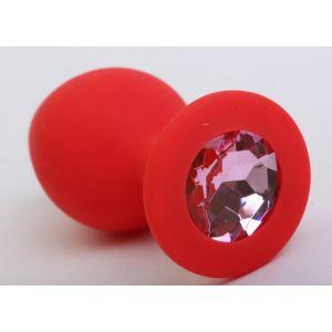 Красная силиконовая пробка с розовым стразом - 8,2 см.