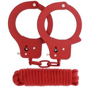 Красные наручники из листового металла в комплекте с веревкой BONDX METAL CUFFS LOVE ROPE SET