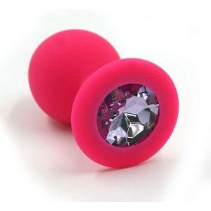 Розовая силиконовая анальная пробка с светло-фиолетовым кристаллом - 7 см.