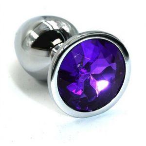 Серебристая алюминиевая анальная пробка с темно-фиолетовым кристаллом - 6 см.