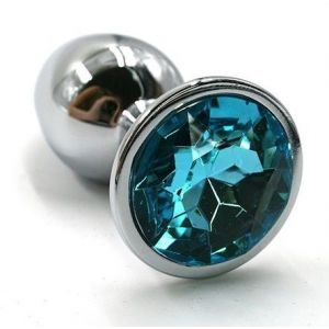 Серебристая алюминиевая анальная пробка с голубым кристаллом - 7 см.
