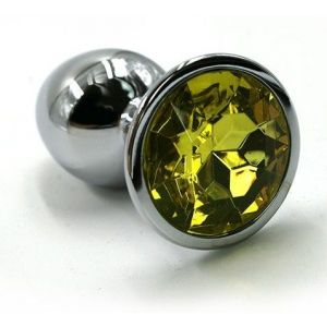 Серебристая алюминиевая анальная пробка с желтым кристаллом - 6 см.