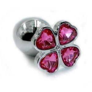 Серебристая алюминиевая анальная пробка с цветком из кристаллов - 6 см.