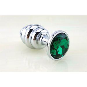 Серебристая рифлёная пробка с зеленым кристаллом - 9 см.