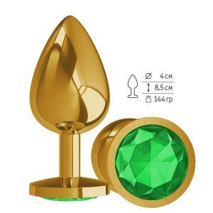 Золотистая большая анальная пробка с зеленым кристаллом - 9,5 см.