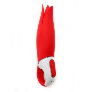 Красный вибратор Satisfyer Vibes Power Flower с лепестками - 18,8 см.