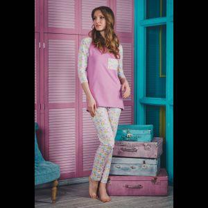 Пижама Caramel: футболка с цветным карманом и штаны
