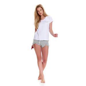 Хлопковая пижама с короткими шортами в полоску