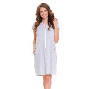 Женская сорочка на молнии с короткими рукавами