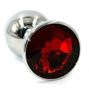 Серебристая хромированная анальная пробка с красным кристаллом - 7 см.